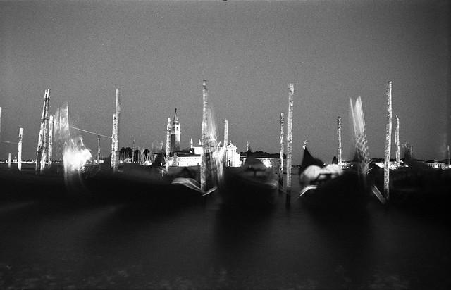 Venezia II: a classic, gondolas blurred and in motion