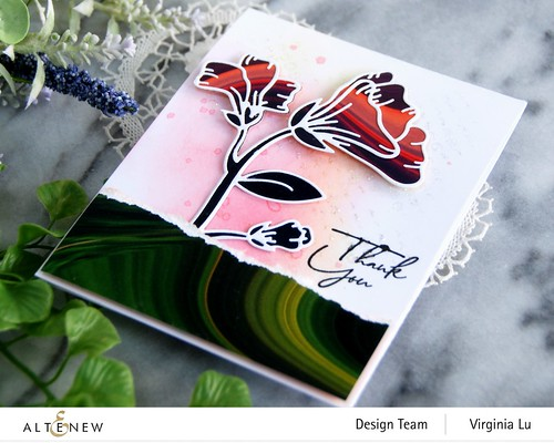 Altenew-Whimsical Garden Layering Die-Poured Acrylic 6x6 Paper Pad -Feeling dotty Stencil-Tall Foliage Stamp (Sentiment) -002
