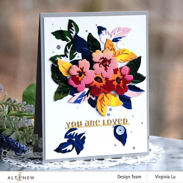 Altenew-Mini Flower Cluster Layering Die-Slim Sentiments Die-Poured Acrylic 6x6 Paper Pad