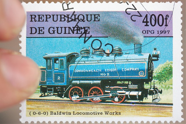 steam engine postage stamp.sello postal de maquina de vapor.
