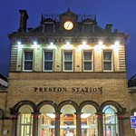 Illuminated railway station at Preston
