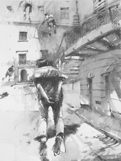 Flying Home, graphite and Wash 76 x 56 cm