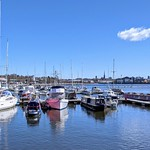 Blue skies over the marina at Preston