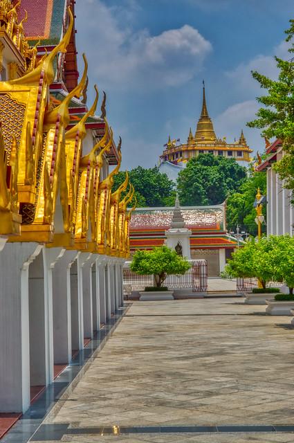 Wat Saket (Phu Khao Thong) seen from Loha Prasat at Wat Ratchanatdaram Worawihan on Rattanakosin island (Old Town) in Bangkok, Thailand