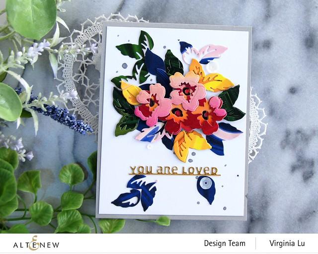 Altenew-Mini Flower Cluster Layering Die-Slim Sentiments Die-Poured Acrylic 6x6 Paper Pad -003