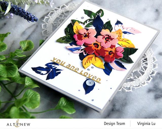 Altenew-Mini Flower Cluster Layering Die-Slim Sentiments Die-Poured Acrylic 6x6 Paper Pad -002
