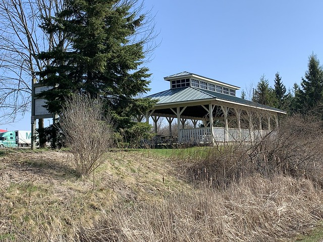 Great pavilion to start a walk from on the beautiful trail trough the Ganaraska Millennium Conservation Area that is east of the Ganaraska river this spring , Martin's photographs , Port Hope, Ontario , Canada , April 14. 2021