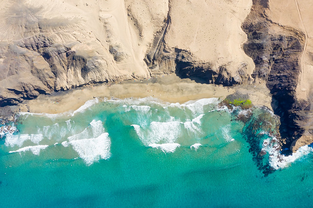 Top-down areal of the famous surfing spot Playa del Viejo Reyes in la Pared on Fuerteventura
