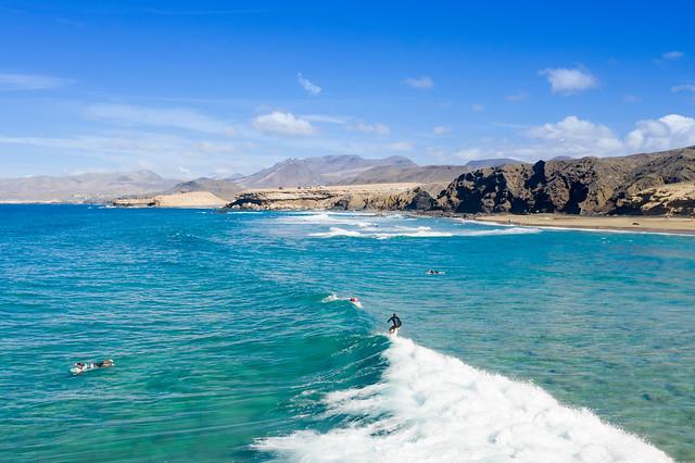 Surfing on Fuerteventura, Canary Islands