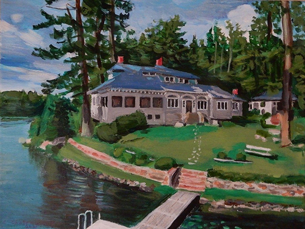 A Beach House At Long Lake, Maine - Acrylic Painting by STEVEN CHATEAUNEUF (2021)