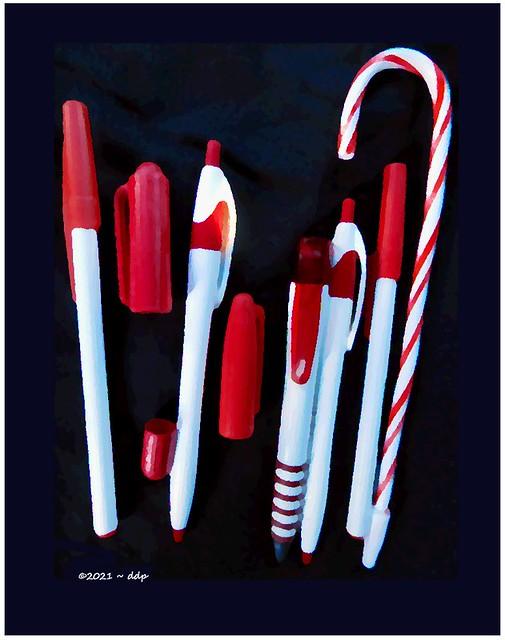 Red & White Pens & Caps ~ Oil Paint Technique