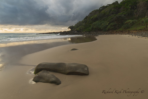 australia queensland coolum landscape seascape beach sand coast bay sea sky clouds trees hill rocks view vista