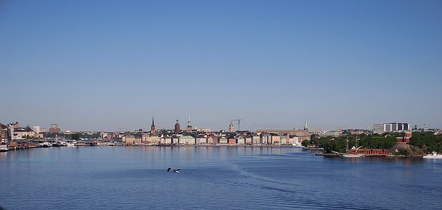 Llegando a Estocolmo, desde el barco