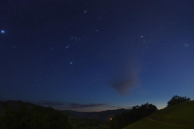 Twilight Sky - Sirius, Orion, Taurus, Mars and the Pleiades