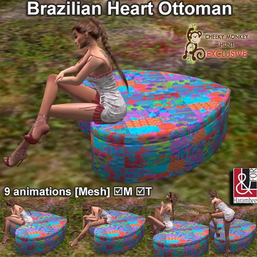 Brazilian Heart Ottoman Multisit