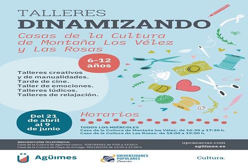 Cartel del ciclo de talleres Dinamizando de la Universidad Popular de Agüimes