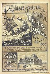 Affiche publicitaire du Grand Trunk Railway à l'occasion du carnaval d'hiver de Montréal. On y aperçoit la gare Bonaventure. 1889. VM166-D01995-1-1-086. Archives de la Ville de Montréal.