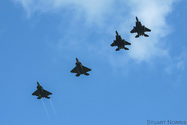F-22A Raptors with F-15E Strike Eagles - RAF Lakenheath