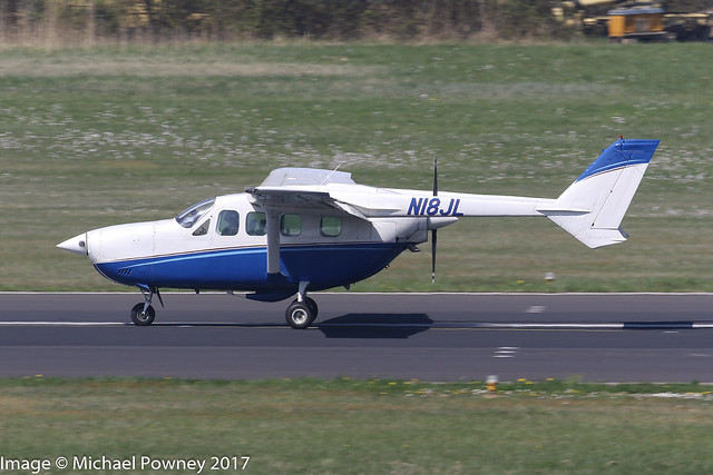 N18JL - 1974 build Cessna T337G Pressurized Skymaster, arriving on Runway 24 at Friedrichshafen during Aero 2017