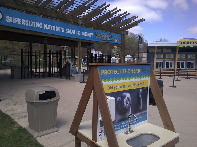 Hand-washing station just outside of the zoo