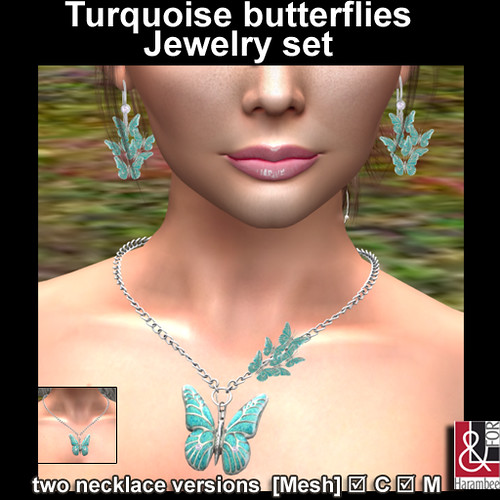 Turquoise butterflies Jewelry set