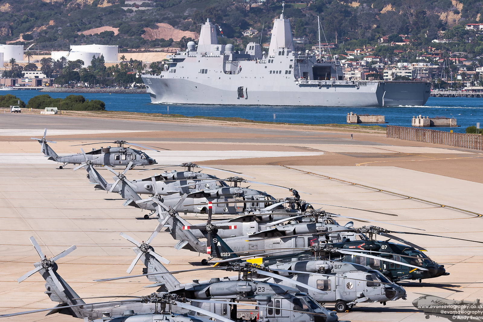 The MH-60S Dispersal as the USS Somerset departs