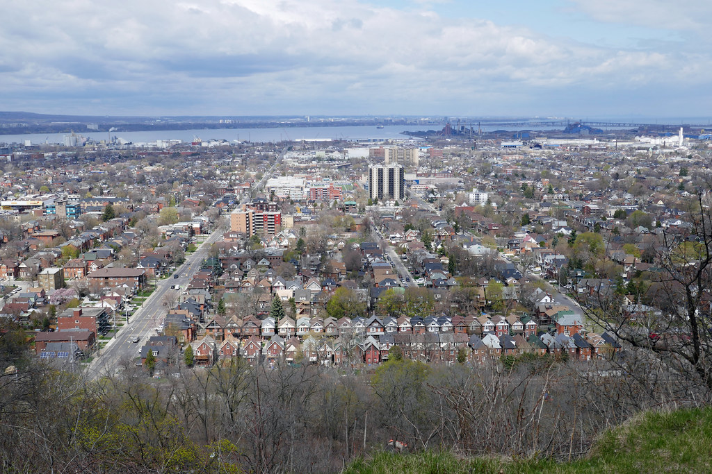 Cheek to jowl houses Cumberland Ave. Wentworth to Sanford view from Mountain Brow West Park