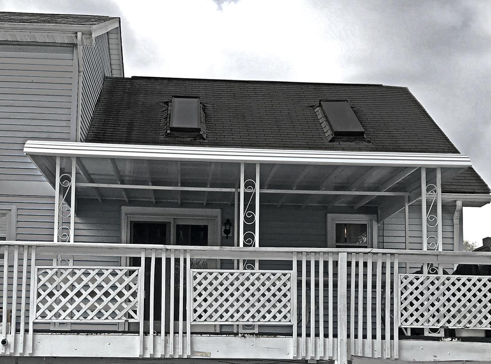 Front Porch Aluminum Stepdown Awning-Hoffman