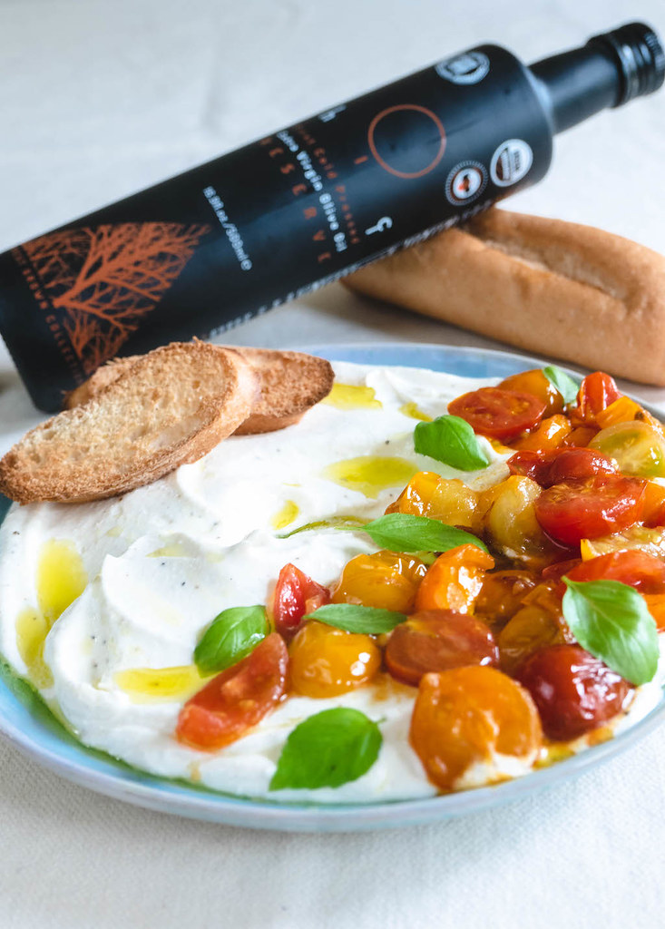 Our Whipped Feta and Tomato Crostini With the Hiç Olive Oil Bottle
