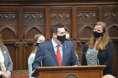Rep. Tony Scott and his family after he was sworn into office. Scott won an April 13 special election for the 112th House District serving residents of Monroe and Newtown.