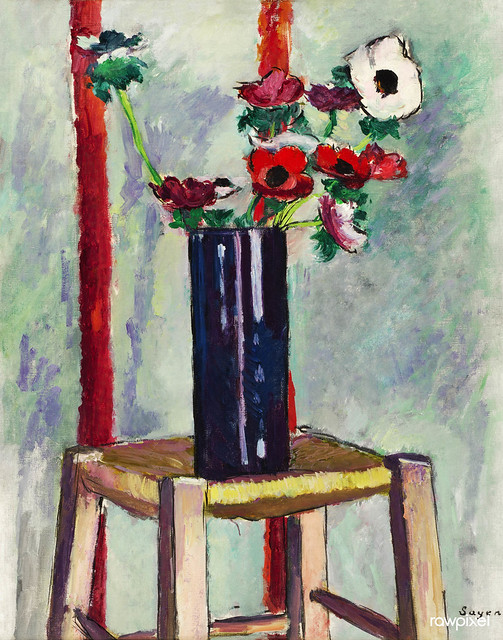 Anemones (ca.1910–1912) painting in high resolution by Henry Lyman Sayen. Original from the Smithsonian Institution. Digitally enhanced by rawpixel.