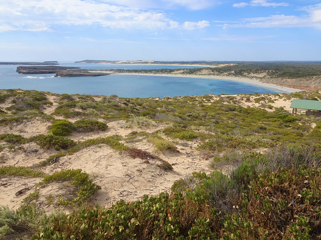 Yorke Peninsula. Innes Dhilba Guuranda National Park. At West Cape there are views of Pondalowie Bay the second bay visible, Middle Island, Althorpe Island, Kangaroo Island and only 110  kms from Port Lincoln. . . .