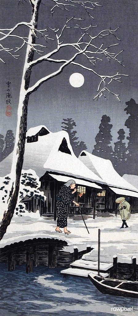 Moonlight on Snow (1936) print in high resolution by Hiroaki Takahashi. Original from The Los Angeles County Museum of Art. Digitally enhanced by rawpixel.