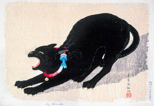 Black Cat Hissing 20th century print in high resolution by Hiroaki Takahashi. Original from The Los Angeles County Museum of Art. Digitally enhanced by rawpixel.