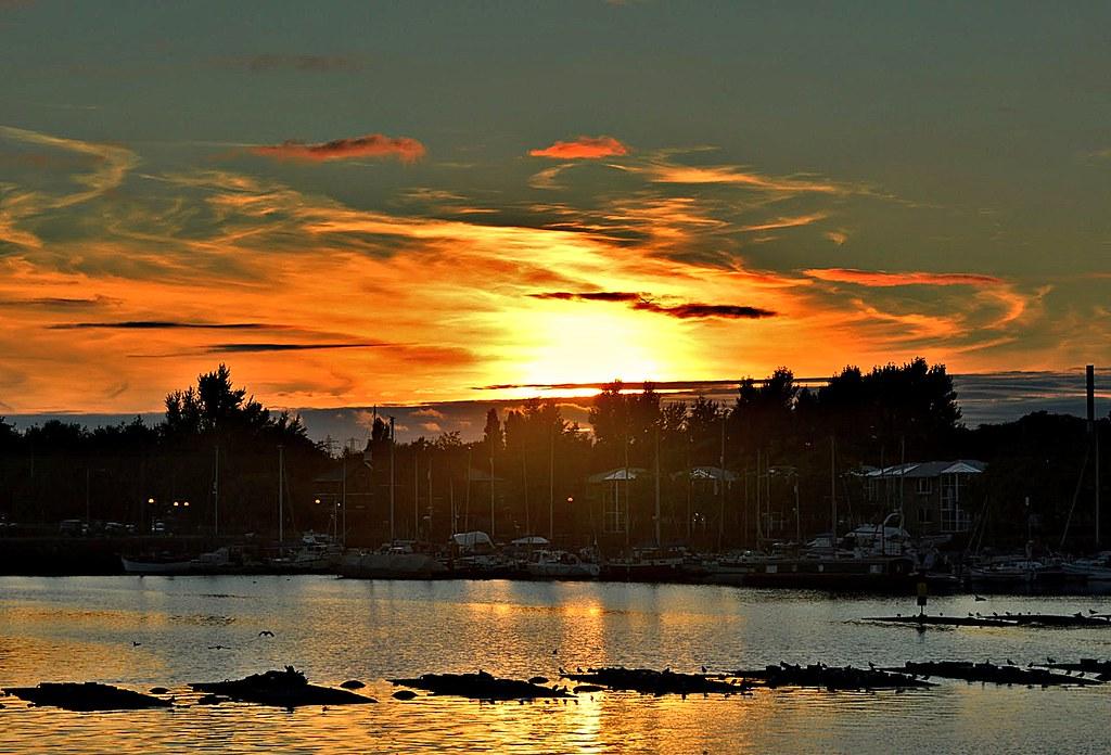 Firey skies over the docks at Preston