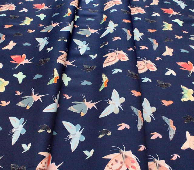 Riley Blake Designs Dream World C9084-NAVY Butterflies Navy