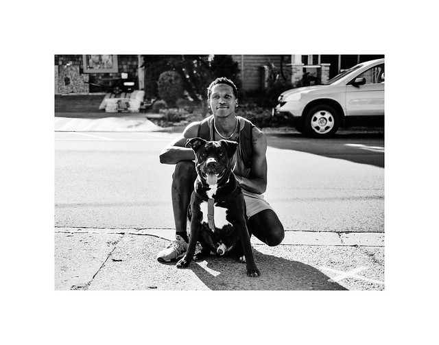 Young Man with Dog, Yellow Springs, Ohio - black and white version
