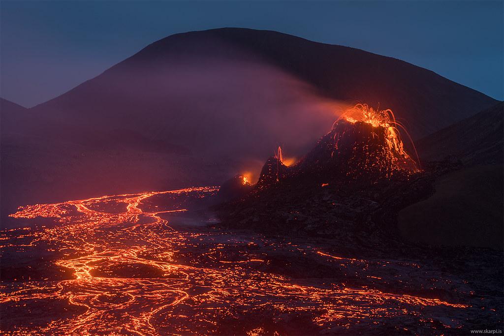 Erupting Volcano in Iceland 2021