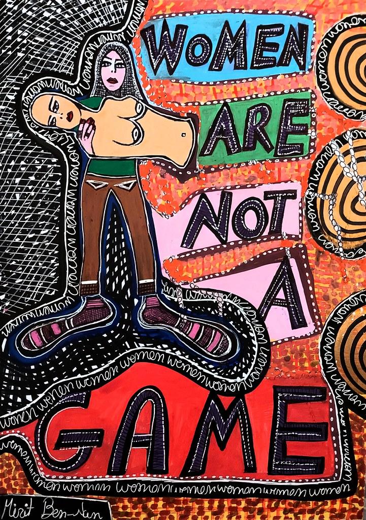 ציירת ישראלית ציור אקריליק עפרונות צבעי מרקר ועטים על גבי בריסטול מירית בן נון