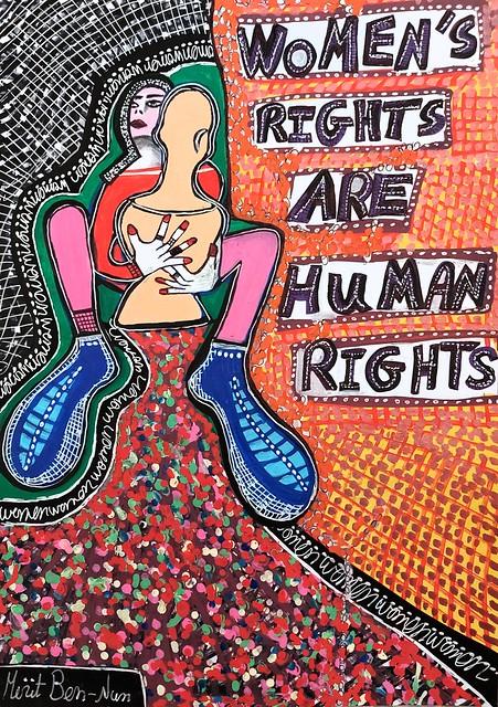 ציור אקריליק עפרונות צבעי מרקר ועטים על גבי בריסטול ביצוע מירית בן נון ציירת ישראלית