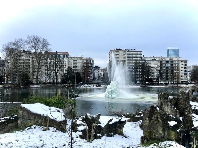 Frozen lake in Brussels