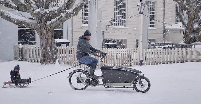 Biking in the winter wonderland