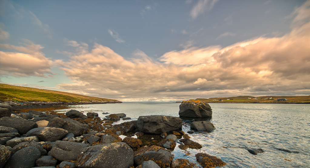 Big rocks going out for a swim in Kilmaluag Bay, Skye, Scotland.