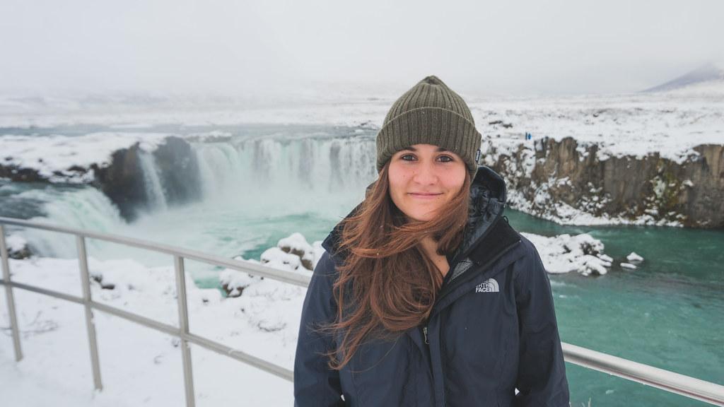 PhD student near waterfall