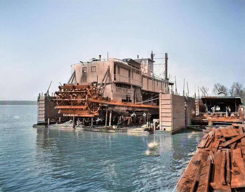 Circa 1905 A Mississippi River floating dry dock, Vicksburg The sternwheeler Mary H. Miller.