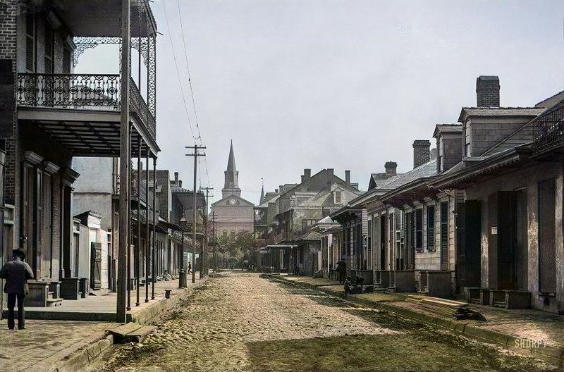 Circa 1890 Street in New Orleans near Cathedral of St. Louis