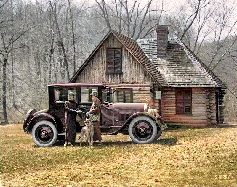 Washington, D.C., 1924 Washington Hunt motor car The building is the Joaquin Miller cabin at Rock Creek Park.