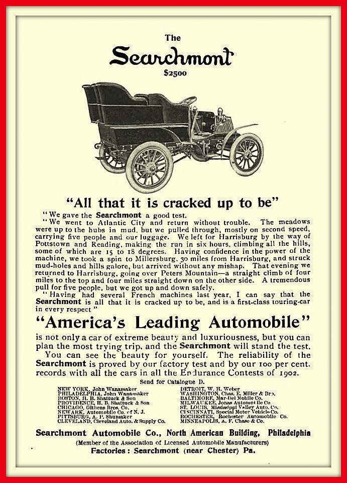 1903 the Searchmont $3500 - America's Leading Model - Searchmont Automobile Co., Chester, PA