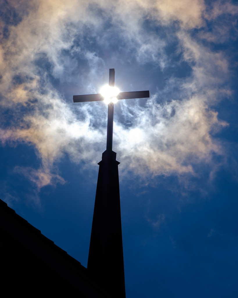 Cross, Sun, and Clouds