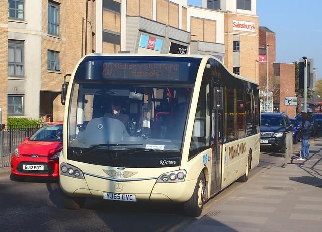 Richmond's Coaches . Barley , Royston , Hertfordshire . YJ65EVC . The Causeway , Bishop's Stortford , Hertfordshire . Tuesday morning 20th-April-2021 .